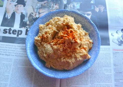 Hummus, a sprinkling of paprika and Suggs © Ciara Norton